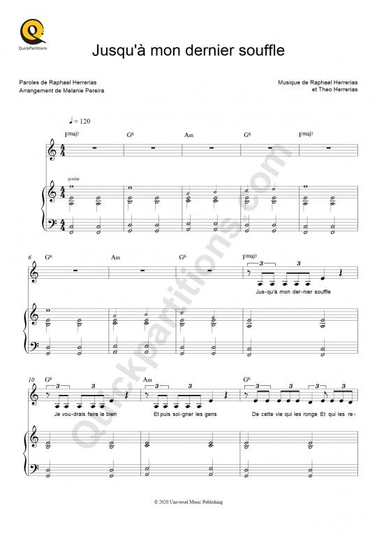 Partition piano Jusqu'à mon dernier souffle - Terrenoire