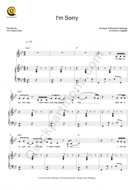 Partition piano I'm Sorry - Kimberose
