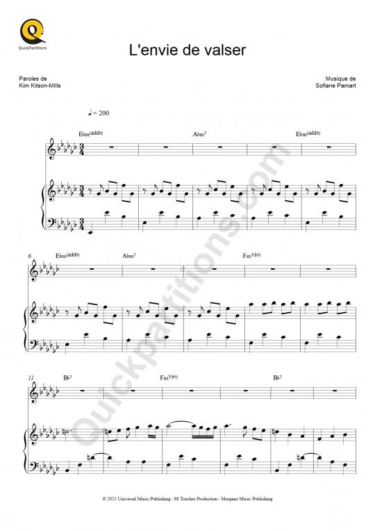 Partition piano L'envie de valser - Kimberose