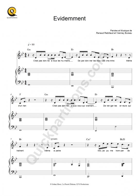Evidemment Piano Sheet Music - Kendji Girac