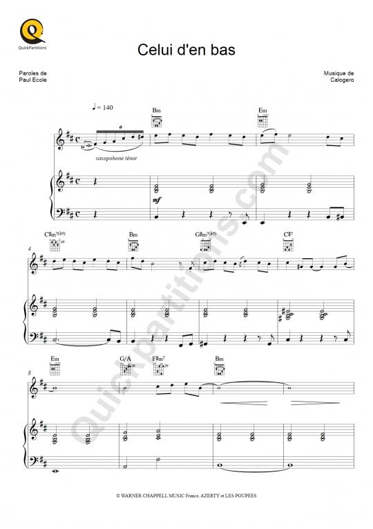 Partition piano Celui d'en bas (Edit) - Calogero