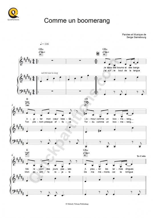 Partition piano Comme un boomerang - Etienne Daho