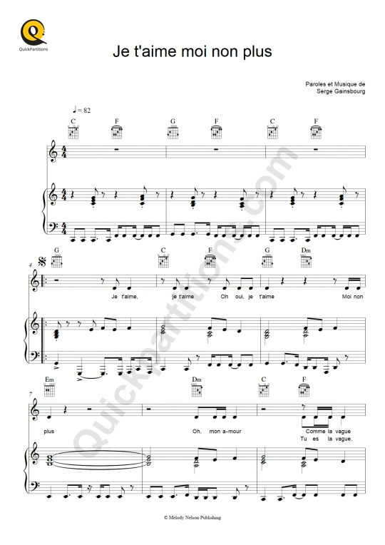 Partition piano Je t'aime moi non plus - Serge Gainsbourg