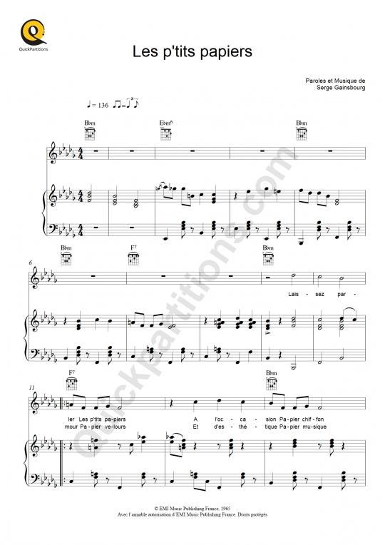 Partition piano Les p'tits papiers - Régine