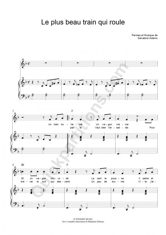 Partition piano Le plus beau train qui roule - Salvatore Adamo