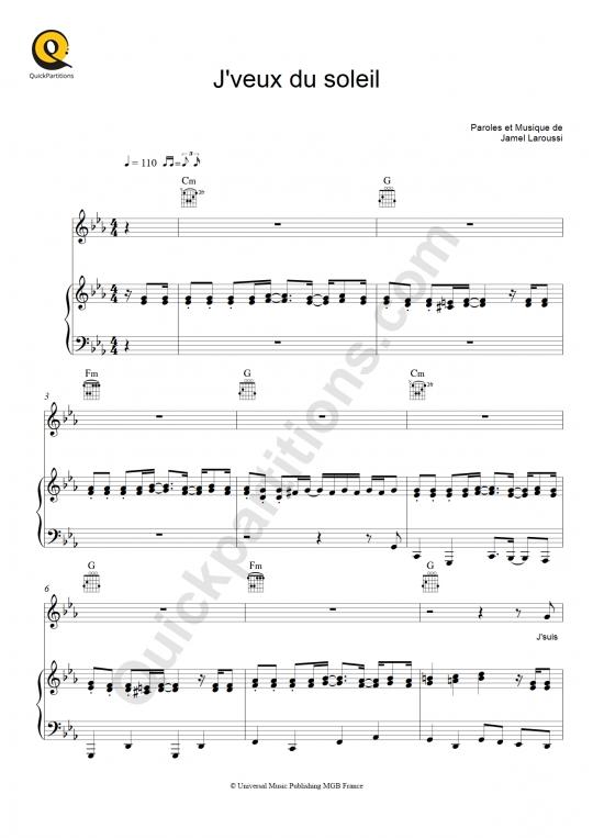 Partition piano J'veux du soleil - Au p'tit Bonheur