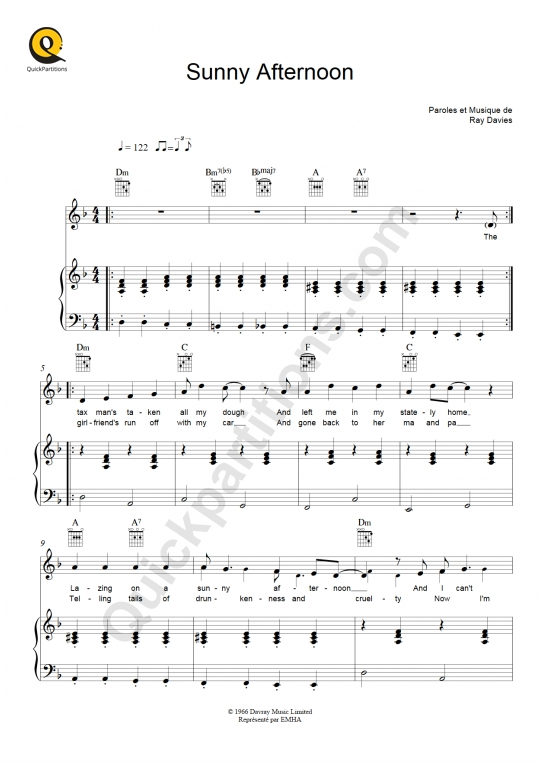 Sunny Afternoon Piano Sheet Music - The Kinks