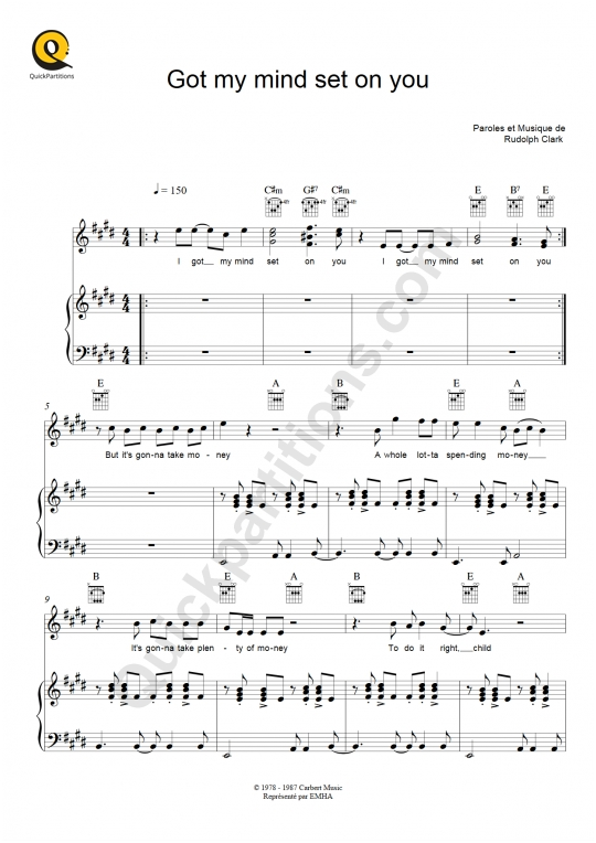 Got my mind set on you Piano Sheet Music - Georges Harrison