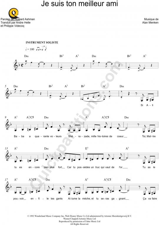Partition pour Instrument Soliste Ce rêve bleu (A whole new world) - Aladdin