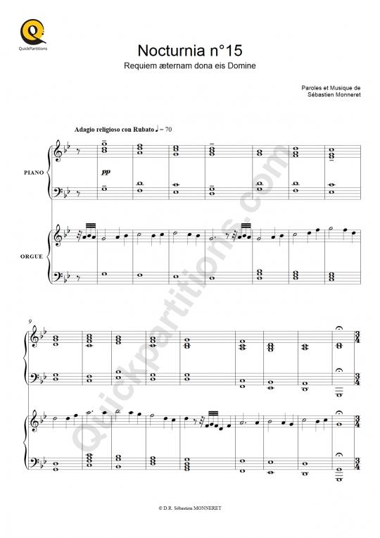 Partition piano Nocturnia n°15 (version chantée) - Sébastien MONNERET