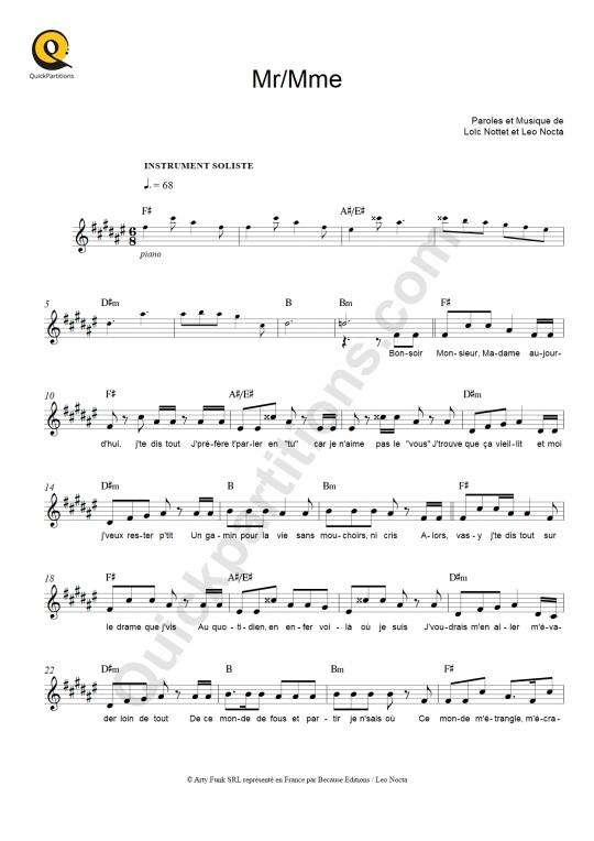 Partition pour Instrument Soliste Mr/Mme - Loïc Nottet