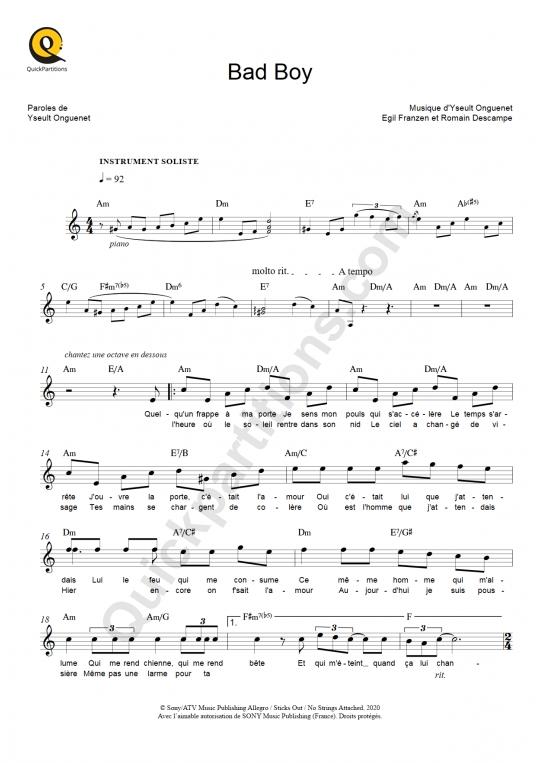 Partition pour Instrument Soliste Bad Boy - Yseult