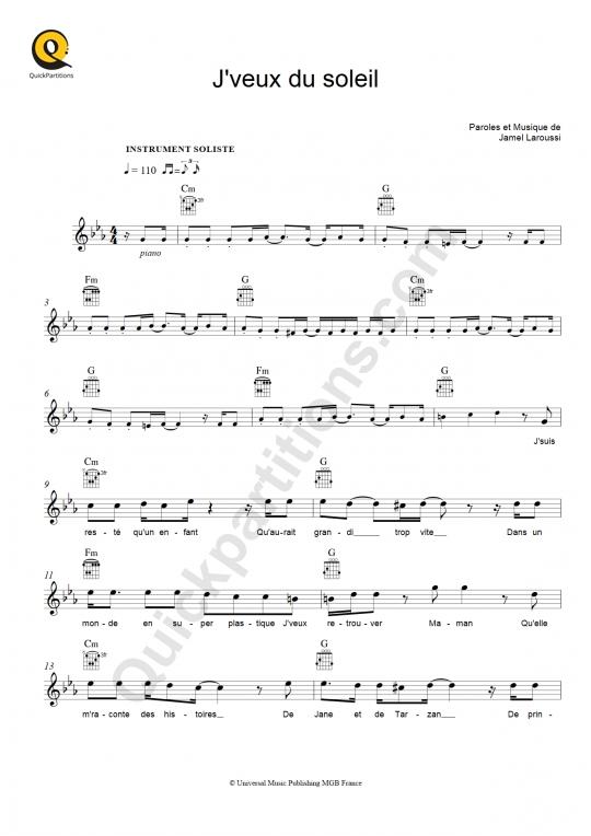 Partition pour Instrument Soliste J'veux du soleil - Au p'tit Bonheur