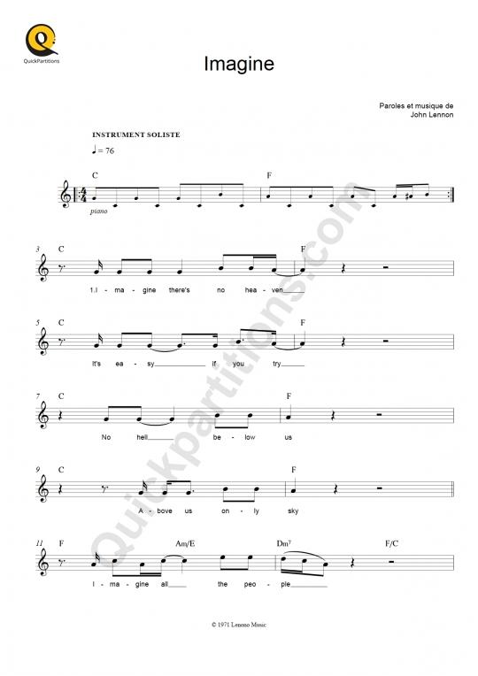 Partition pour Instrument Soliste Imagine - John Lennon