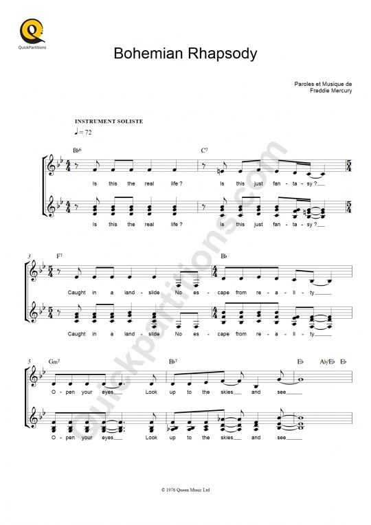 Partition pour Instrument Soliste Bohemian Rhapsody - Queen