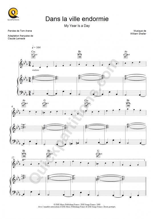 Partition piano Dans la ville endormie - Dalida