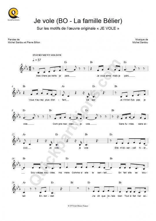 Partition pour Instrument Soliste Je vole - Louane