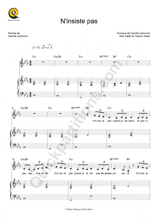 Partition piano N'insiste pas - Camille Lellouche