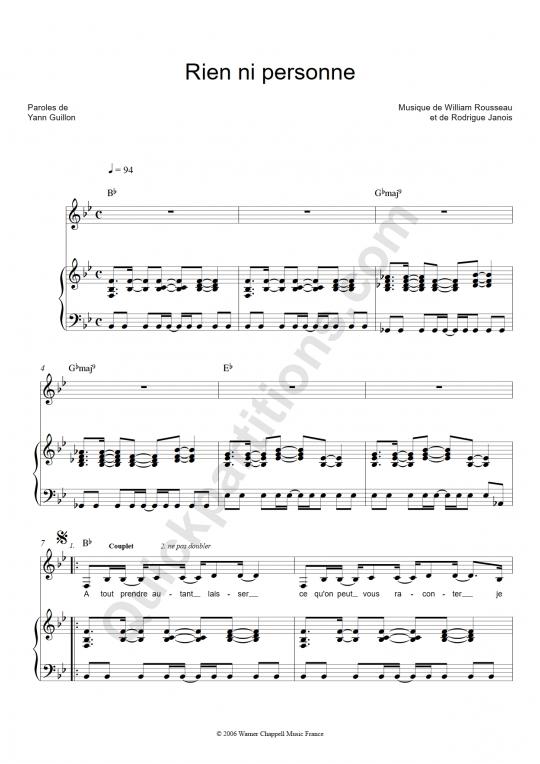 Partition piano Rien ni personne - Emmanuel Moire