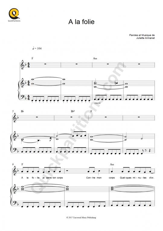 Partition piano A la folie - Juliette Armanet