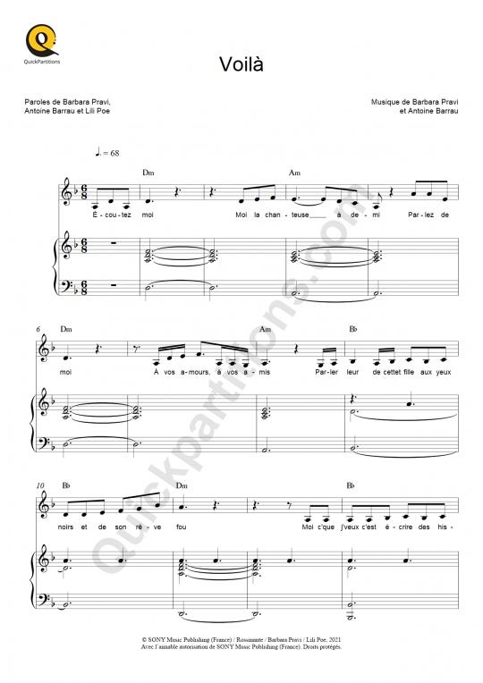Partition piano Voilà - Barbara Pravi