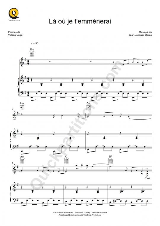 Partition piano Là où je t'emmènerai - Florent Pagny