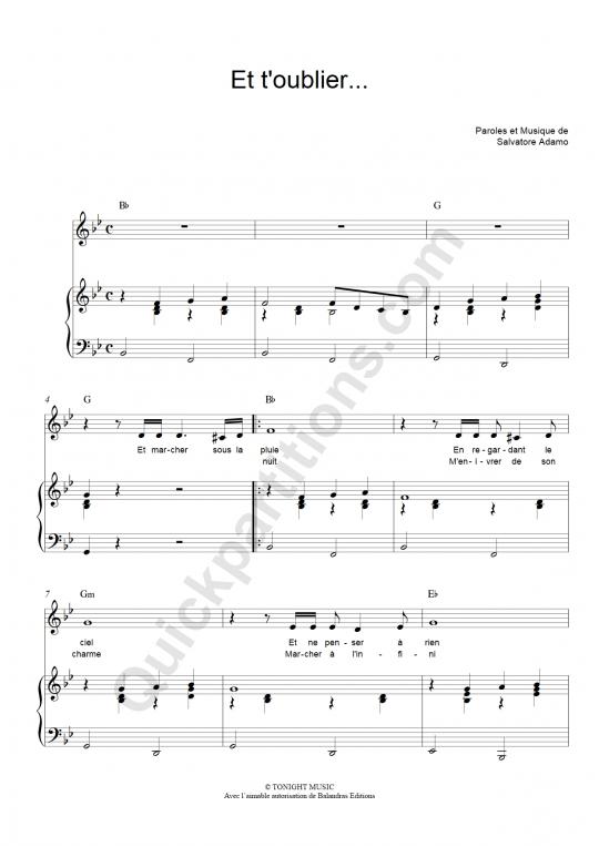 Partition piano Et t'oublier... - Salvatore Adamo