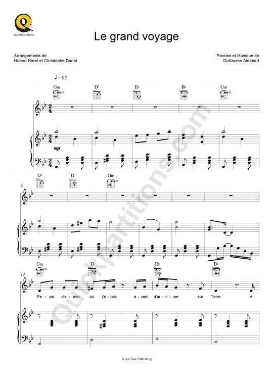 Le grand voyage Piano Sheet Music - Aldebert