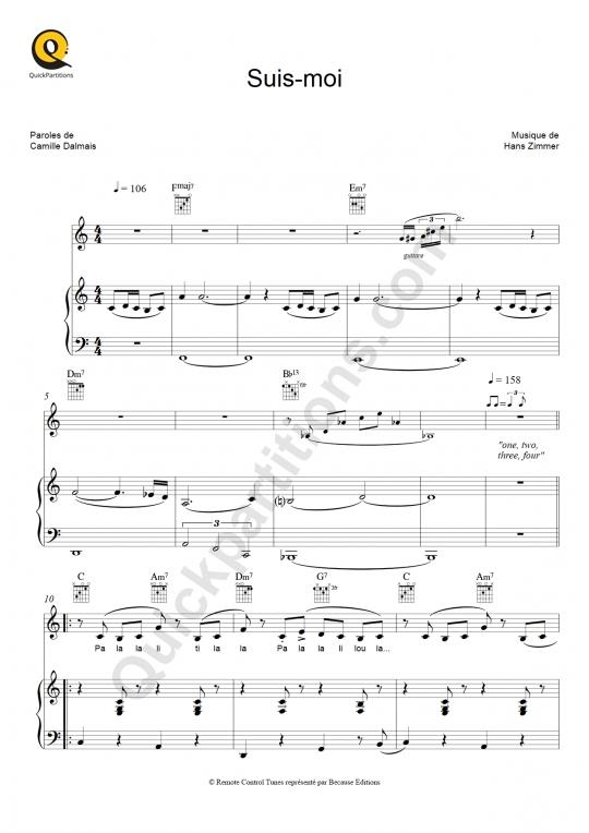 Partition piano Suis-moi - Le petit prince