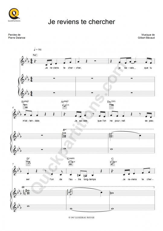 Partition piano Je reviens te chercher - Anne Sila