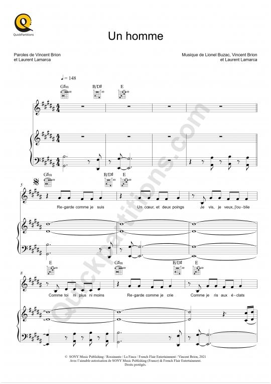 Partition piano Un homme - Jérémy Frerot
