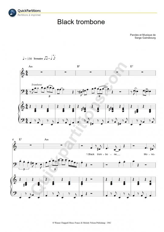 Partition piano et trombone Black trombone - Serge Gainsbourg