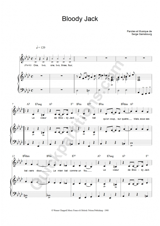 Serge Gainsbourg sheet music to download and print - World center of ...