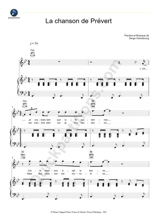 Partition piano La chanson de Prévert - Serge Gainsbourg