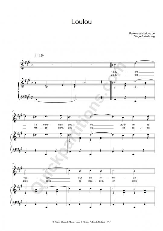Partition piano Loulou - Régine