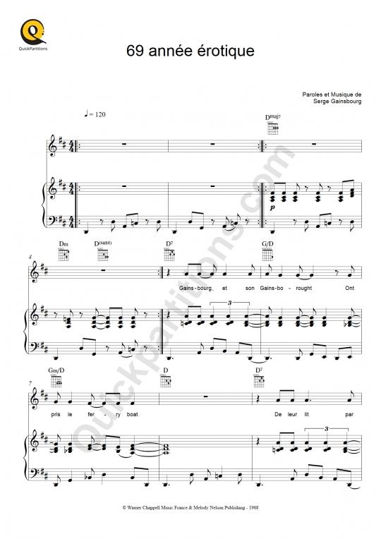 Partition piano Soixante neuf année érotique (69 année érotique) - Serge Gainsbourg