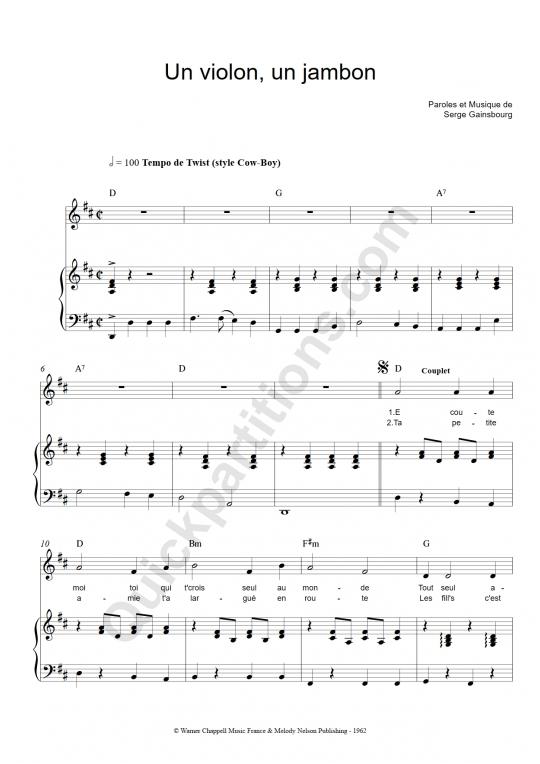 Un violon un jambon Piano Sheet Music - Serge Gainsbourg