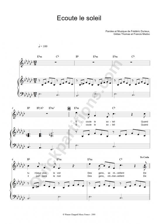 Partition piano Ecoute le soleil - Zut