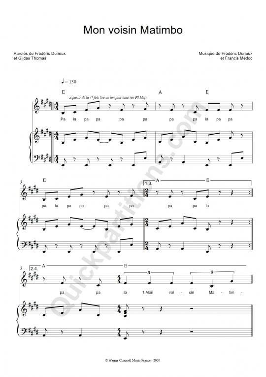 Partition piano Mon voisin Matimbo - Zut