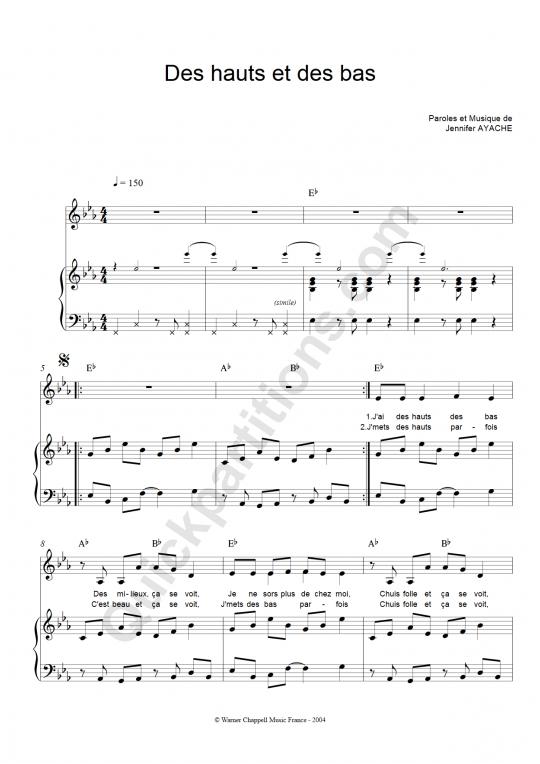 Des Hauts Et Des Bas Piano Sheet Music - Superbus