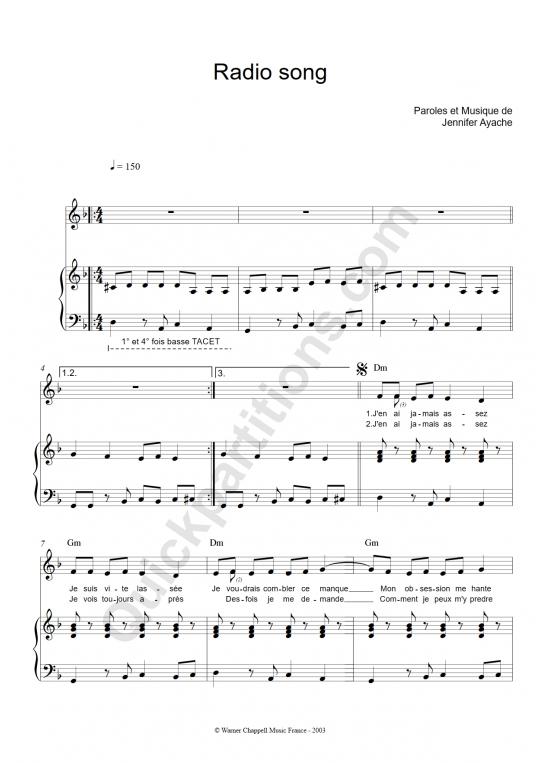 Partition piano Radio Song - Superbus