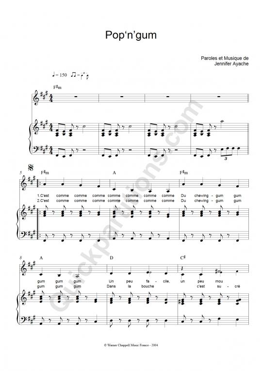 Partition piano Pop 'n' Gum - Superbus