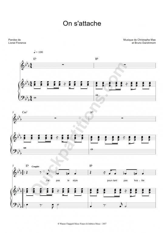 Partition piano On s'attache - Christophe Maé