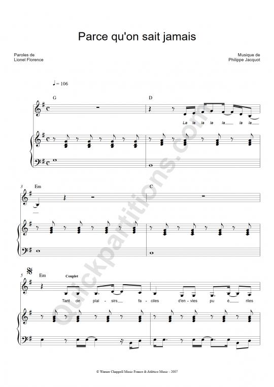 Partition Piano Parce qu'on sait jamais - Christophe Mae