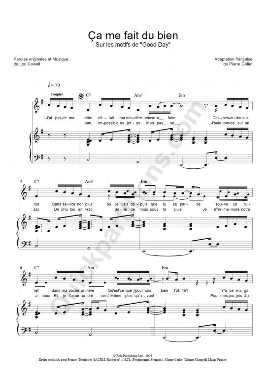 Partition piano Ca me fait du bien - Emmanuel Moire