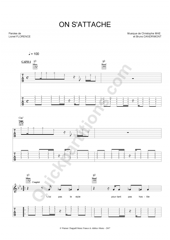 On Su0026#39;attache Guitar Tab - Christophe Mae (Digital Sheet Music)