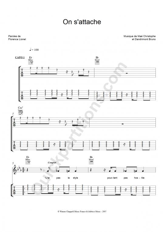 partition guitare tablature