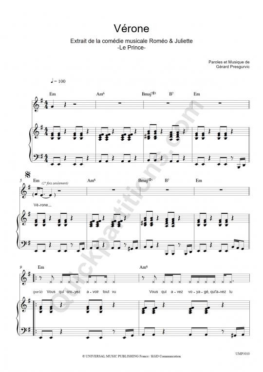 Partition piano Vérone - Romeo et Juliette