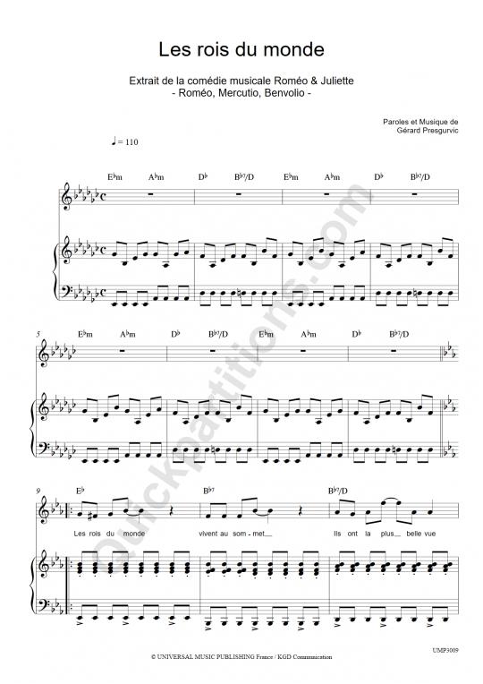 Partition Piano Les rois du monde -  Romeo Et Juliette