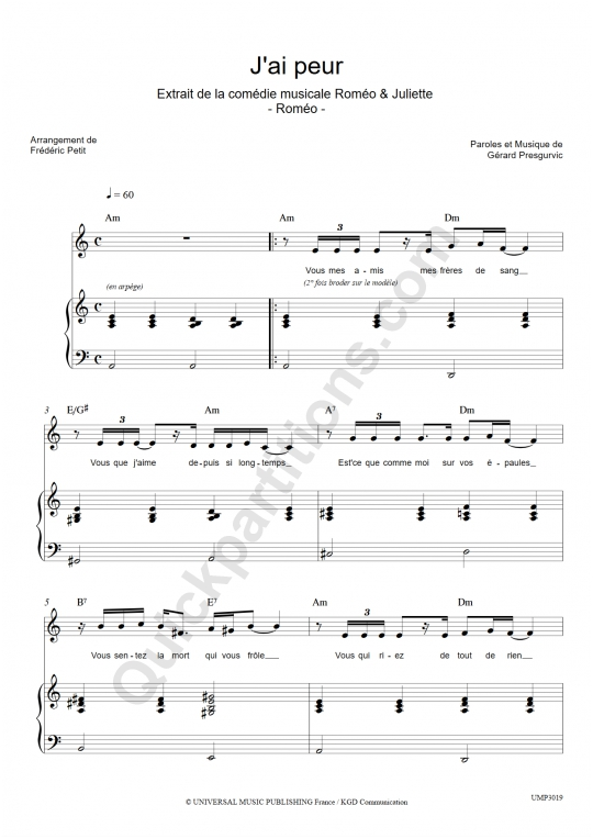 Partition piano J'ai peur - Romeo et Juliette